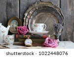 composition with fresh roses ...   Shutterstock . vector #1022448076