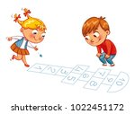girl and boy play in hopscotch. ... | Shutterstock .eps vector #1022451172
