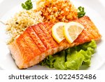 grilled salmon and vegetables | Shutterstock . vector #1022452486