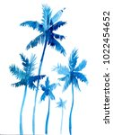palm trees. hand drawn... | Shutterstock . vector #1022454652