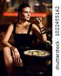 beautiful sexy fashion brunette ... | Shutterstock . vector #1022455162