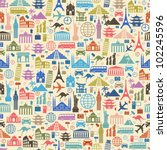 Seamless vector Wallpapers or background travel, vacation, famous places | Shutterstock vector #102245596