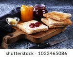 toast bread with homemade... | Shutterstock . vector #1022465086