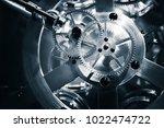 vintage clock mechanism  close...   Shutterstock . vector #1022474722
