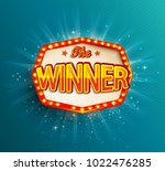 the winner retro banner with... | Shutterstock . vector #1022476285