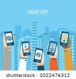 illustration of hands holding... | Shutterstock . vector #1022476312