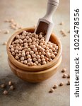 raw organic chickpeas in a...   Shutterstock . vector #1022478556