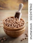 raw organic chickpeas in a...   Shutterstock . vector #1022478562