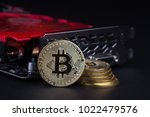 cryptocurrency mining concept... | Shutterstock . vector #1022479576