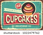 delicious cupcakes retro sign... | Shutterstock .eps vector #1022479762