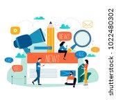 news update  online news ... | Shutterstock .eps vector #1022480302