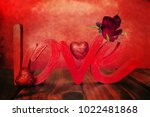flowers with word love | Shutterstock . vector #1022481868