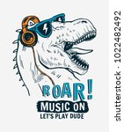 Stock vector tyrannosaurus rex with sunglasses and headphone vector illustrations for t shirt prints and other 1022482492