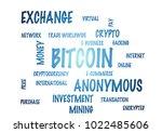 word cloud   bitcoin. 3d... | Shutterstock . vector #1022485606