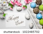 happy easter card  | Shutterstock . vector #1022485702