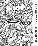 mushrooms coloring antistress... | Shutterstock .eps vector #1022485975
