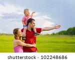 happy family looks into the... | Shutterstock . vector #102248686