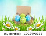easter card. painted easter...   Shutterstock . vector #1022490136