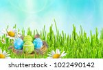 easter card. painted easter... | Shutterstock . vector #1022490142