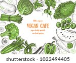 healthy food frame vector... | Shutterstock .eps vector #1022494405