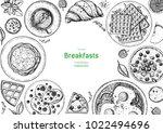 breakfasts top view frame.... | Shutterstock .eps vector #1022494696