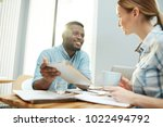 young confident analyst with... | Shutterstock . vector #1022494792