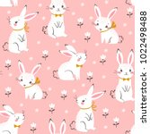 seamless pattern of cute white... | Shutterstock .eps vector #1022498488