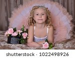 girl in white with pink dress...   Shutterstock . vector #1022498926