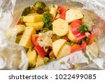 vegetarian dish. mixed... | Shutterstock . vector #1022499085