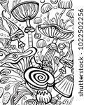 mushrooms coloring antistress... | Shutterstock .eps vector #1022502256
