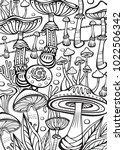 mushrooms coloring antistress... | Shutterstock .eps vector #1022506342