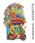 an vintage overloaded indian...   Shutterstock .eps vector #1022507776