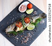 fresh grilled  roasted sea bass ... | Shutterstock . vector #1022512918