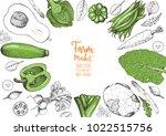 vegetables top view frame....   Shutterstock .eps vector #1022515756
