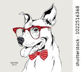image portrait bulldog in the... | Shutterstock .eps vector #1022516368