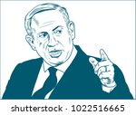 benjamin netanyahu. vector... | Shutterstock .eps vector #1022516665