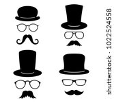 man faces with glasses ... | Shutterstock .eps vector #1022524558