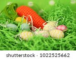 colorful easter eggs   happy... | Shutterstock . vector #1022525662