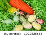 colorful easter eggs   happy... | Shutterstock . vector #1022525665