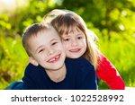 portrait of happy smiling... | Shutterstock . vector #1022528992