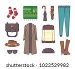big set of stylish winter... | Shutterstock . vector #1022529982