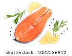 slice of red fish salmon with... | Shutterstock . vector #1022536912