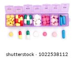 daily pill box with medical...   Shutterstock . vector #1022538112