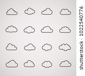 vector cloud icons shapes set ... | Shutterstock .eps vector #1022540776
