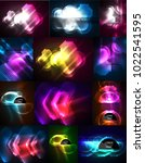 set of neon glowing abstract... | Shutterstock .eps vector #1022541595
