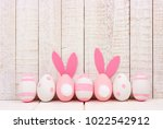 Row Of Easter Eggs Against A...