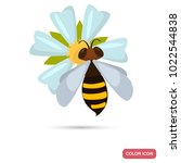 bee pollinates the flower color ... | Shutterstock .eps vector #1022544838