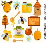 honey making color flat icons... | Shutterstock .eps vector #1022544865