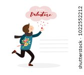 boy in love with a letter and a ... | Shutterstock .eps vector #1022552212