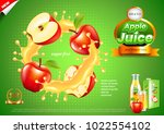 juice ads. apples in splashes.... | Shutterstock .eps vector #1022554102